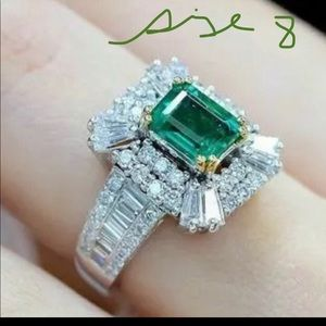 White Gold Filled Emerald Ring